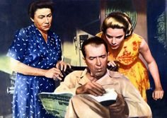 Promotional photo of Rear Window with Grace Kelly, Jimmy Stewart and Thelma Ritter, 1954.