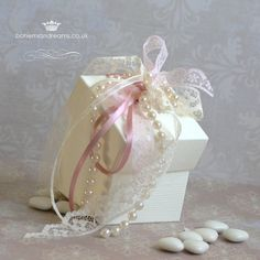 This adorable box features a beautiful hand made corsage of ribbon, lattice, lace {all in the colour of your choice} and pearls. Vintage Wedding Favors, Wedding Favor Boxes, Favour Boxes, Wedding Invitations Online, Wedding Stationery, Corsage Wedding, Lace Wedding, Pearl And Lace, Pretty Box