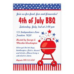 Patriotic #BBQ Custom Custom Invite #4thofjuly #independenceday