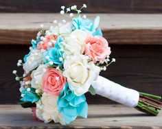 coral tiffany blue aqua baby's breath real touch wedding bouquet