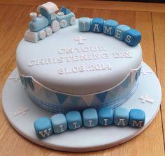 Twins train christening cake