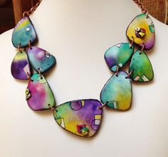 """Polymer clay, """"Wings"""" necklace, """"Graffiti"""" series, handmade, unique, hand painted"""