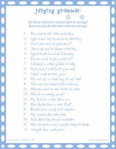 Lane's SLP Materials: Grammar: Judging Grammar in Sentences Speech Therapy Worksheets, Speech Language Pathology, Therapy Activities, Speech And Language, Therapy Ideas, Language Arts, Grammar Activities, Language Activities, Teaching Resources