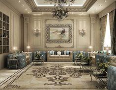 Oriantal Majilis - KSA on Behance House Ceiling Design, Ceiling Design Living Room, Home Room Design, Luxury Home Decor, Luxury Interior Design, Interior Architecture, Modern Classic Interior, Arabic Decor, Classic House Exterior