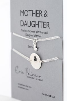 Mommy and Me. Mother Daughter bracelets This set of two bracelets represents the lifelong bond and love between mothers and daughters.
