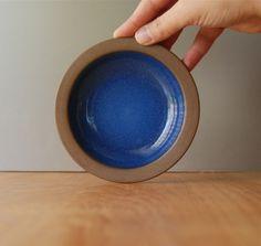 Vintage Heath Ceramics Small Mini Plate - Rim Line - Moonstone Blue and Nutmeg. $18.00, via Etsy.