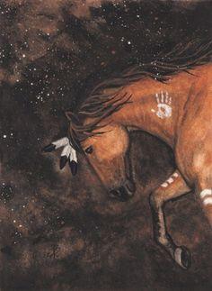 "Indian war horse, looks like it's stepping off into the ""galaxy"".....  :)"