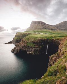 Gásadalur falls in Faroe Islands (1080px by 1080px)