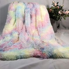 Rainbow Fluffy Blanket – Bedding For All Blankets For Winter, Cute Blankets, Fluffy Blankets, Throw Blankets, Plush Blankets, Couch Blanket, Cozy Couch, Fuzzy Blanket, Colorful Bedding