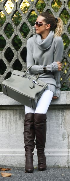 This outfit makes me want the leaves to change!!!! Love the Birkin bag, and pairing grey with brown instead of black ;)