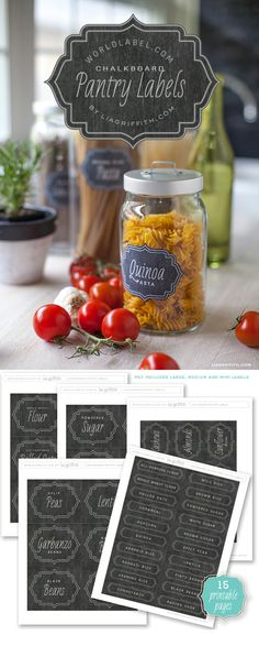 Free printable chalkboard pantry labels - http://liagriffith.com/printable-vintage-chalkboard-pantry-labels/