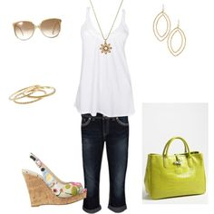 White tank & capris. Love the wedges and the bag!