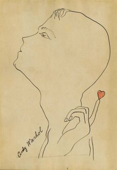 1381: ANDY WARHOL - Pen & ink and colored ink drawing : Lot 1381