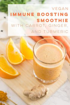 Vegan orange smoothie recipe with carrots ginger and turmeric. Fight off colds with this immune boosting, healthy vegan smoothie! Carrot Smoothie, Turmeric Smoothie, Ginger Smoothie, Orange Smoothie, Smoothie Bowl, Paleo Smoothie Recipes, Vegan Smoothies, Milk Smoothies, Juice Recipes