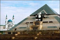 Pyramid of Kazan, Tatarstan, Russia This is the largest recreation center in Russia and it includes two restaurants, a bowling club, a gym center, a beauty salon, a disco club, a café and a concert hall. The building stands 98 feet tall and occupies 147,500 square feet.