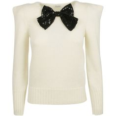 Saint Laurent Bow Embellished Sweater found on Polyvore featuring tops, sweaters, tie sweater, white sequin sweater, tie top, bow sweater and round neck sweater