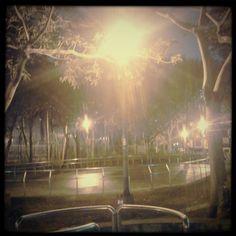 park rink at night