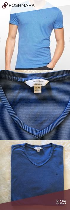 Men's Calvin Klein Body Fit V-Neck shirt XL/TG 👕 LNWOT. Men's Calvin Klein Body Fit Coupe Cintree' 👕  💙 Men's size XL/TG  💙 V- Neck  💙 Color: blue w/ subtle white horizontal stripes  💙 100% Cotton  💙 Worn once! Excellent condition! No flaws to report  The V neck is not too deep. The fabric has a little sheen & is just the right weight! Readily worn under a blazer or simply on its own with an excellent pair of jeans!!!   Thanks for looking 👀!!  Please ask if you have any ?'s! 😃…