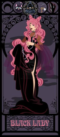 ART NOUVEAU PRINTS FOR ALL THE NON-DISNEY PRINCESSES: The Black Lady from Sailor Moon