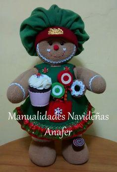 Esta linda pareja de jengibres ya están listos para preparar los cupcakes y paletas en esta Navidad. Elaborados en tela polar carnerito y p...