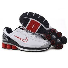 Famous Nike Shox R6 White/Red-Black Men Shoes 1003 $53.99