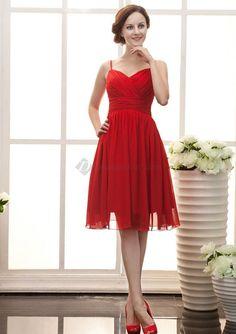red chiffon sailor bridesmaid dresses | Red Chiffon Knee -length Bridesmaid Dresses / Special Occasion Dresses ...
