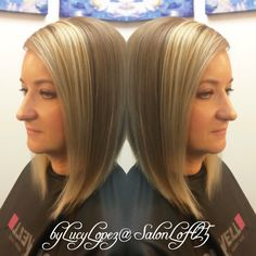 Two tone blonde-inverted bob. By Lucy Lopez Cleveland Ohio
