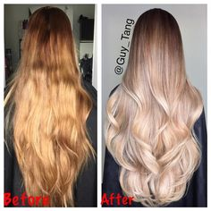 """#transformationtuesday took 5 steps and 9 hours to color correct her #rapunzel -like hair. Her hair is up to her hip and it's so thick. TAG your friends…"""