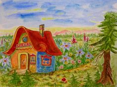 This Original watercolor painting of Fairy House painted on heavy 270 pound (125Ibs) paper with high quality watercolor paints. This Painting is