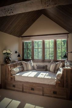 Cosy rustic corner in house. Perfect mix between bay window and bed. If longer, it could be a guest bed