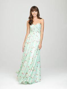 Perfect for a casual celebration, a destination wedding, or a semi-formal affair, the Allure 1437 bridesmaid dress has an eye-catching look with an all-over print that offers unconventional charm.