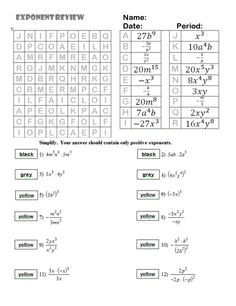 Properties of Exponents Coloring Page Homework