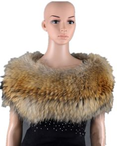 K245-Autumn winter warm knitted wraps with natural fur color, Fashion female raccoon fur collars