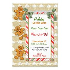 Gingerbread Fun Cookie Swap Exchange Party Invitation, Customize