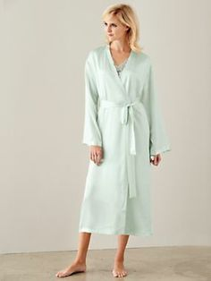 9cd9cb51d We've updated our classic charmeuse robe with an elegant collarless  silhouette and slender trim. WinterSilks