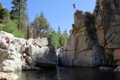 Camping Places Aztec Falls in Lake Arrowhead, Ca. Rated best swimming hole by National Geographic Magazine -Read Camping Places, Places To Travel, Places To See, Camping Cabins, Best Swimming, Swimming Holes, Hiking Trails With Waterfalls, Cliff Diving, West Coast Road Trip