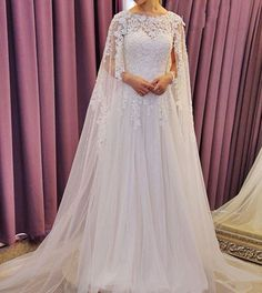 2016 Vintage Lace Beads Wedding Dresses With Cape Cloak Bridal Gowns Custom Made