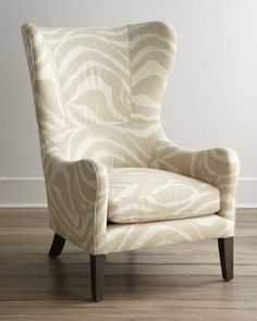 """Lee Industries """"Somerset"""" Wing Chair - Horchow - great large scale Faus Bois Pattern"""