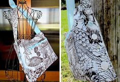 DIY School lunch bag: DIY Toile Tote with Button Accents
