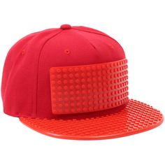 Hot Topic Brick Brick Red Snapback Hat ($22) ❤ liked on Polyvore featuring accessories, hats, red, flat bill cap, brim cap, flat bill hats, snap back hats and red brim hat