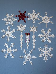 Fun and Fancy Snowflakes No. 3 Crochet Pattern $3.50 - Decorate packages, windows, a tree or wreath with these fun and challenging snowflakes. Connect multiple snowflakes to create an elegant hanging ornament, and add crystal beads and/or clear glitter paint for an extra touch. Or even add an icicle to create a unique ornament for your tree. The snowflakes were made using white crochet thread, size 10, and a size 8 (1.50 mm) steel crochet hook.