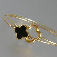Black and Gold Quatrefoil Gold Bangle Bracelet Set, Gold Quatrefoil Bracelet, Gold Jewelry, Four Leaf Clover Bracelet (N149G) on Etsy, $23.00