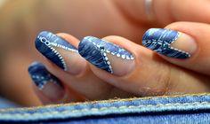 Nail art blue jean denim très facile pour débutants