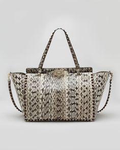 Valentino Rockstud Medium Snakeskin Tote Bag 0baa2f03789c1