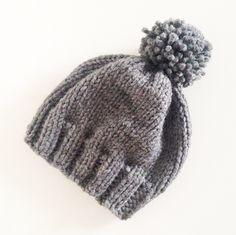 Grey Oversized Pom-Pom Hat – I AM YOUNG