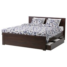 Dark wood bed with extra storage. BRUSALI Bed frame with 4 storage boxes - Queen, Luröy - IKEA High Bed Frame, Full Bed Frame, Bed Frame With Storage, Bed Storage, Storage Boxes, Extra Storage, Bed Frames, Easy Storage, Smart Storage
