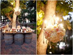 Shabby chic barrel dessert table and floral chandelier Chic Wedding, Wedding Events, Rustic Wedding, Our Wedding, Dream Wedding, Cottage Wedding, Wedding Receptions, Cottage Party, Wedding Blog