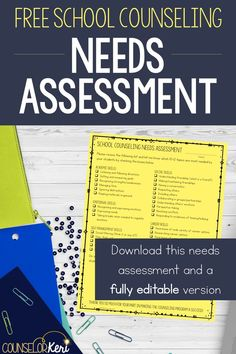 Free School Counseling Needs Assessment: Give teachers a needs assessment to determine what to include on your curriculum map for classroom guidance lessons! Easy 1 page needs assessment with an editable version included.