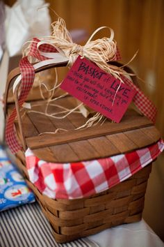 I love this! I could ask all the ladies at the bridal shower to bring things to put in it, then surprise her on the wedding day.