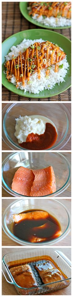 Teriyaki Salmon with Sriracha Cream Sauce - An easy dish with homemade teriyaki sauce and a sweet and spicy Sriracha cream sauce! @damndelicious
